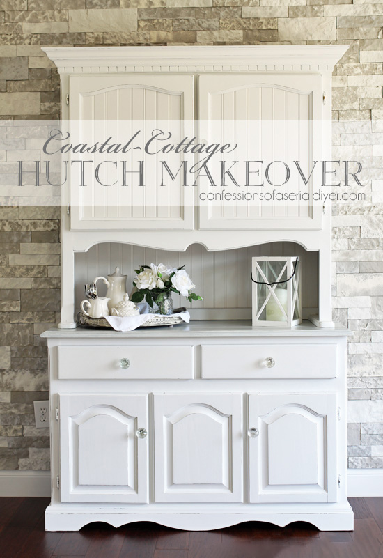 Painted hutch makeover from confessionsofaserialdiyer.com