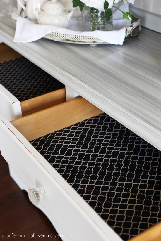 Add fabric to drawers for an instant pop of color, using matte mod podge.