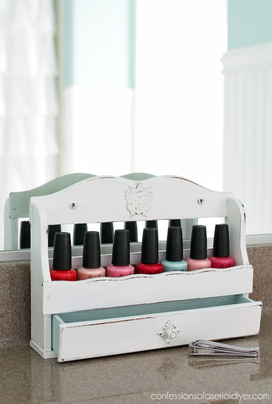 Old spice racks are perfect for storing nail polish!