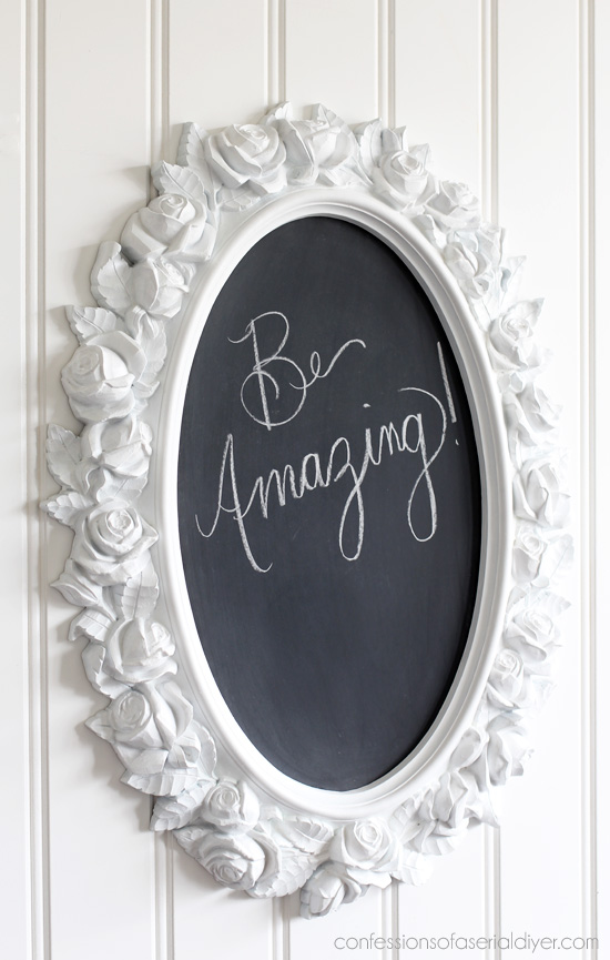Home Interiors mirror turned chalkboard