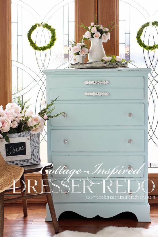 Dresser makeover in Behr's Sunken Pool from Confessionsofaserialdiyer.com