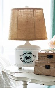 Lamp updated with paint for a beachy look from confessionsofaserialdiyer.com
