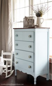 Antique Dresser painted in Behr's Wind Speed from confessionsofaserialdiyer.com