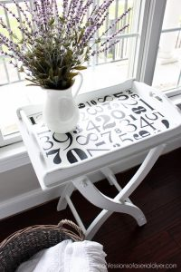 Tray Table Makeover with silhouette stencil from confessionsofaserialdiyer.com