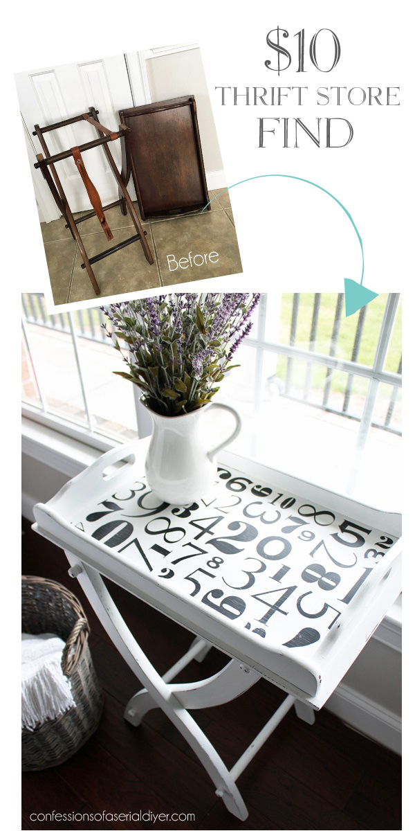 Tray table makeover using Silhouette Cameo to create stencil from confessionsofaserialdiyer.com