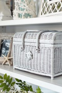 Upcycled thrift store finds are a great way to fill in built-ins!
