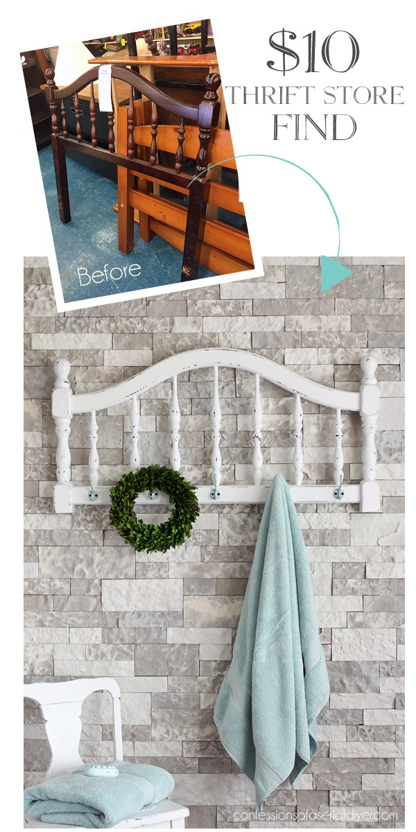 Turn a headboard into a coat rack or towel holder!