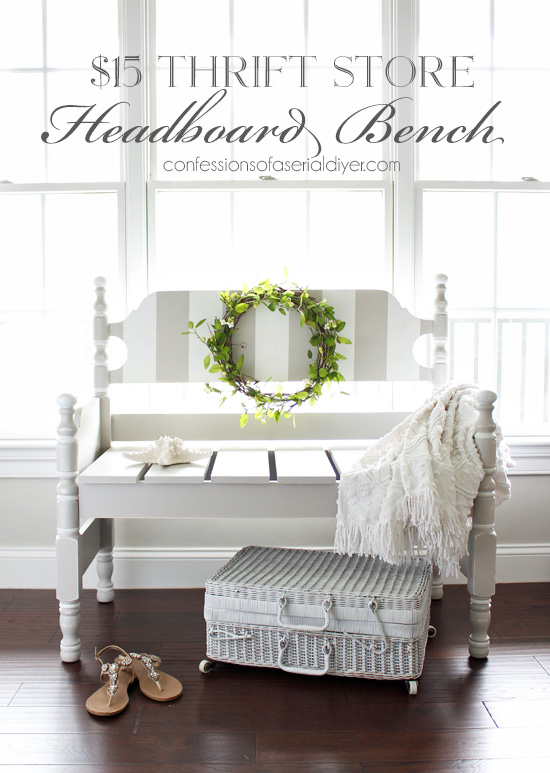 How to turn a headboard into a bench from confessionsofaserialdiyer.com