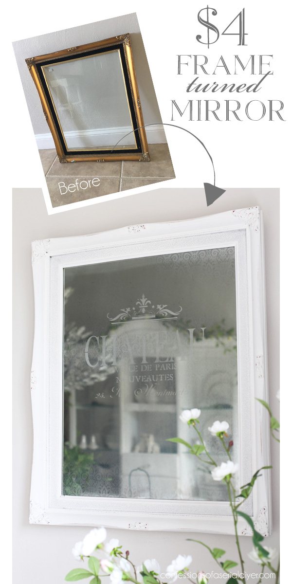 How to turn plain glass and a frame into an etched mirror from confessionsofaserialdiyer.com