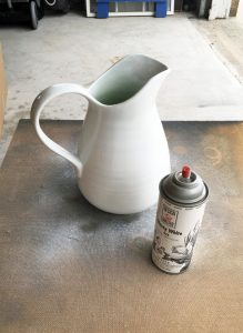 Spray paint ceramic for an ironstone look.