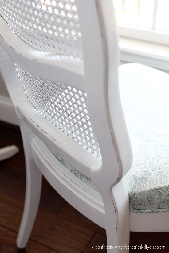 Cane-back chair makeover with spray paint.
