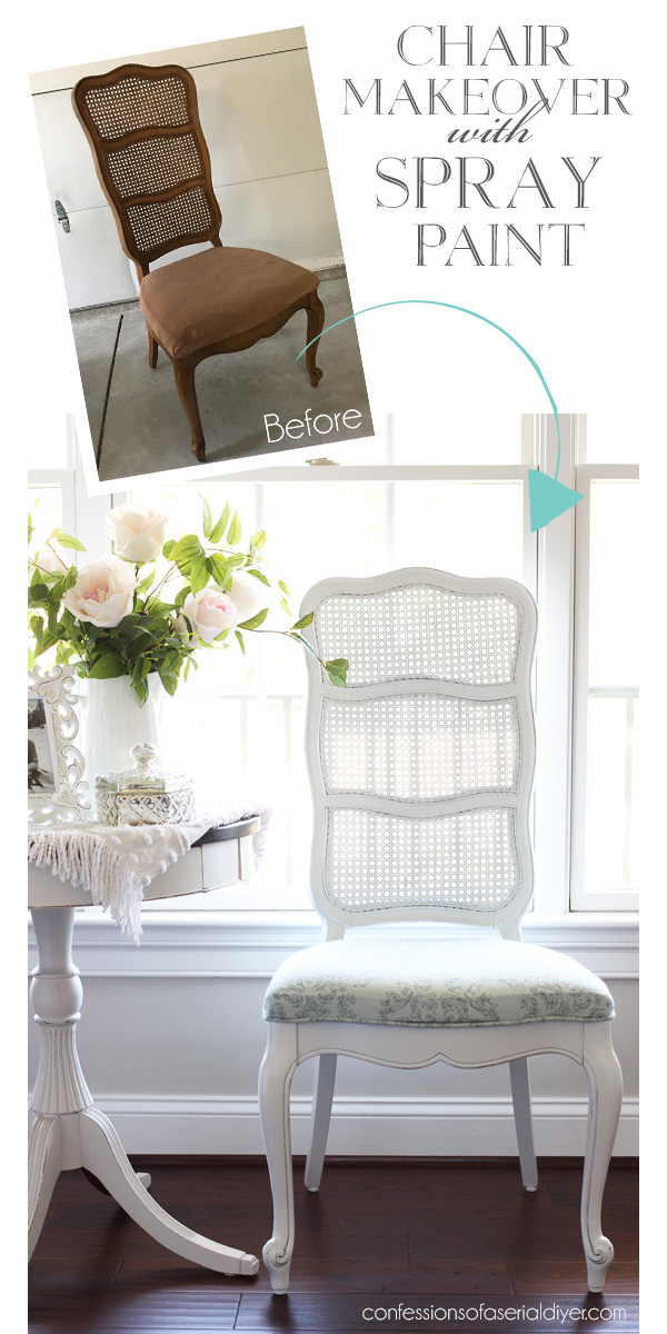 Cane-back chair makeover with spray paint from confessionsofaserialdiyer.com