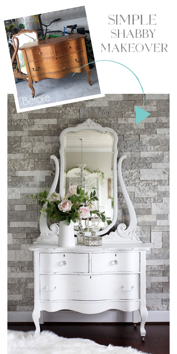 Simple Shabby Dresser makeover with DIY chalk paint from confessionsofaserialdiyer.com