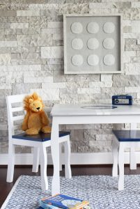 Kids' table and chairs with a white-washed finish from confessionsofaserialdiyer.com