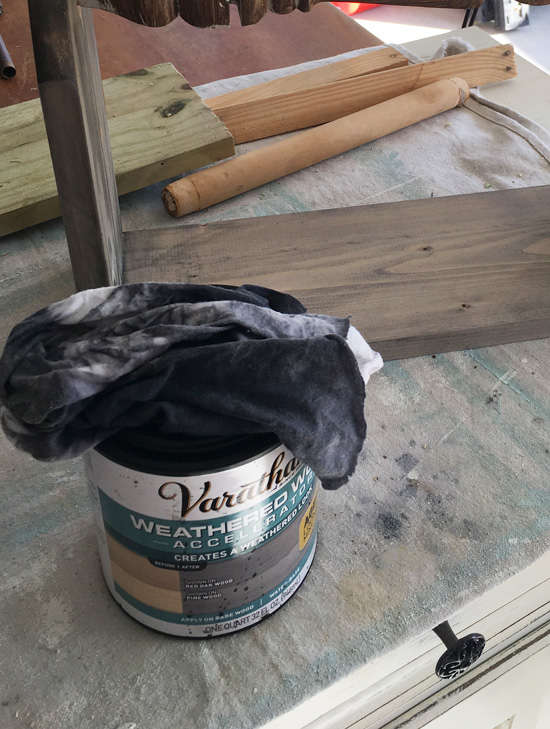 Varathane weathered wood stain is a perfect base for white washing wood pieces.