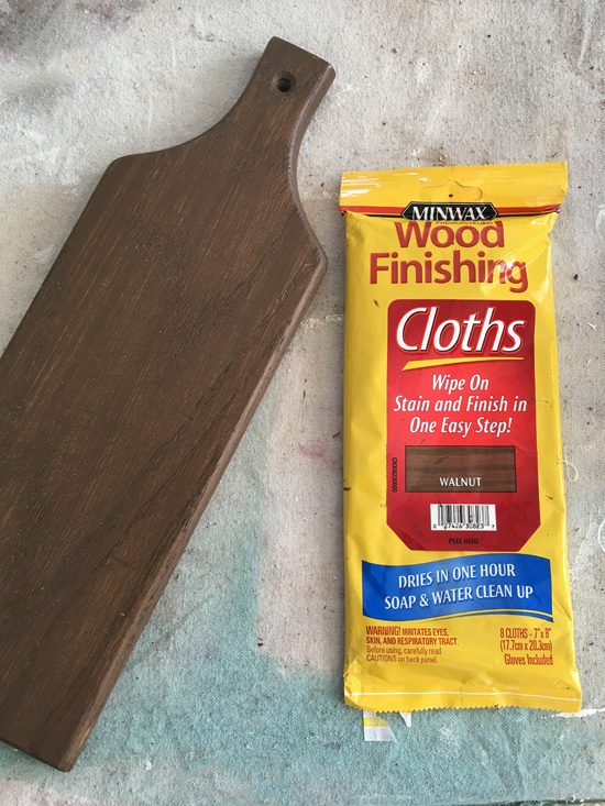 Minwax staining cloths are perfect for small jobs and dry so quickly!