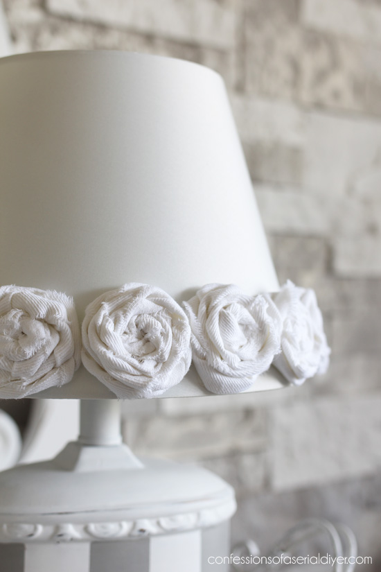 Rag rosettes really make this plain lamp shade cute!