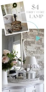Lamp makeover with rag rosettes and a little paint.