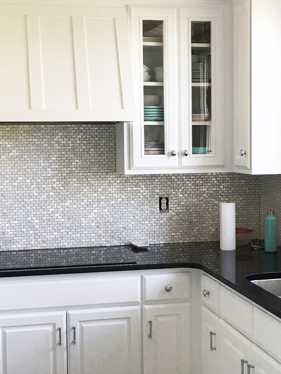 Mother-of-Pearl backsplash going in