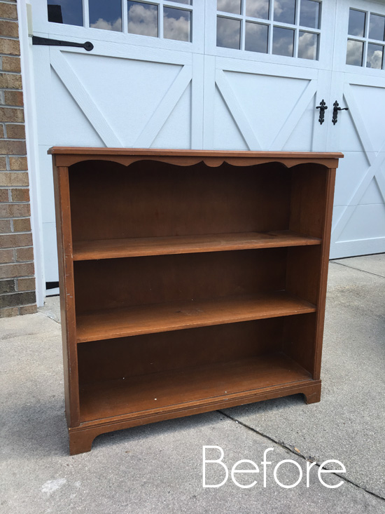 $15 Yard Sale Bookcase Makeover
