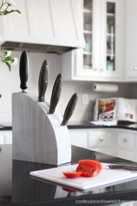 Update your old knife blocks by white washing them!