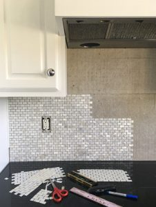 Installing mother-of-pearl tile using Simple Mat.