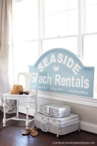 Hotel headboard turned cute sign from confessionsofaserialdiyer.com