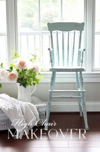 Antique high chair painted in Behr's Sunken Pool.