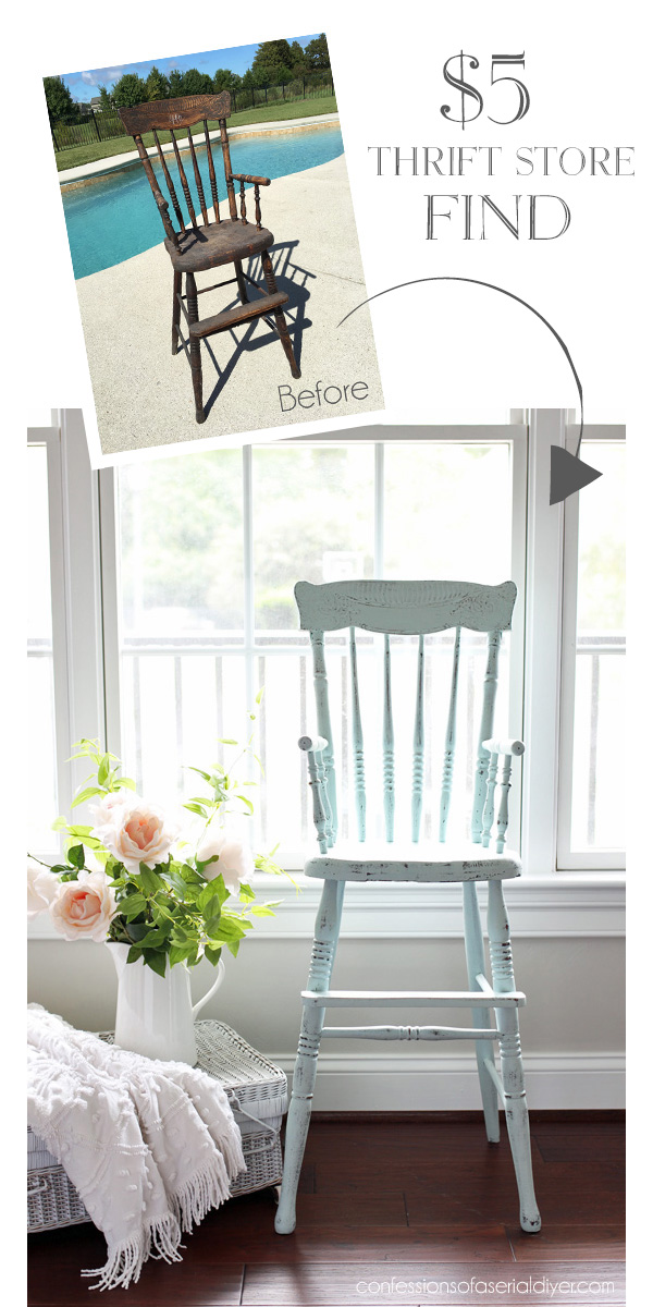 Antique high chair painted in DIY chalk paint