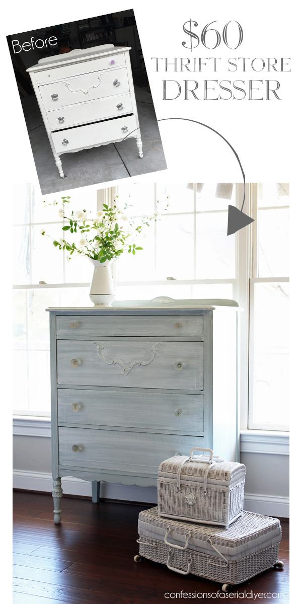 Blue dresser with whitewash finish from confessionsofaserialdiyer.com