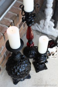 Halloween candlesticks made from lamps
