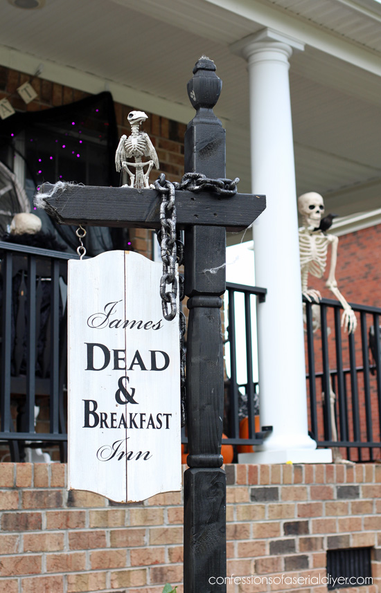 Dead and Breakfast Inn sign from a mailbox stand