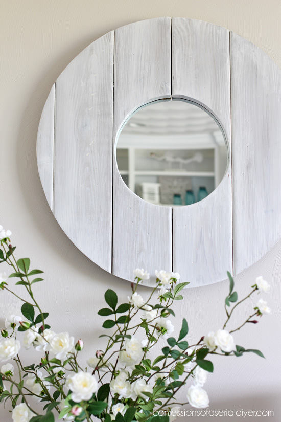 Whitewashed coastal mirror from confessionsofaserialdiyer.com