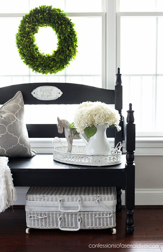 Black painted headboard bench