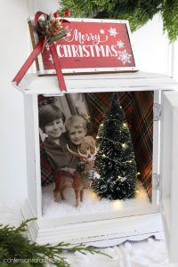 Holiday shadow box made from an old clock.
