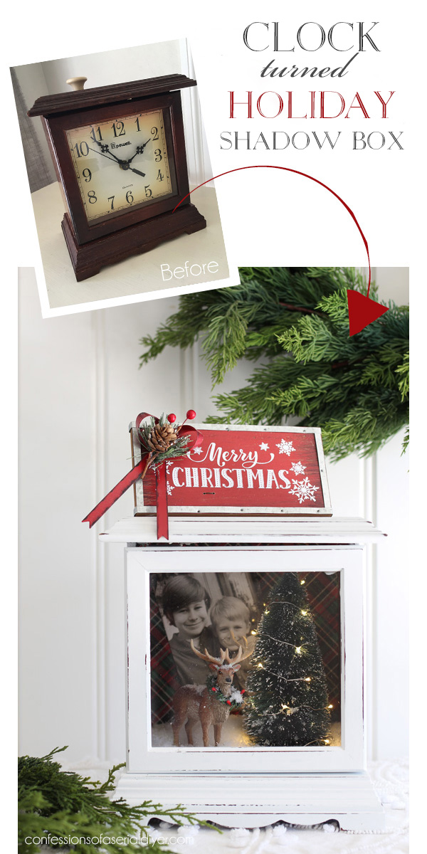 Turn an old Clock into a Christmas Shadow Box!