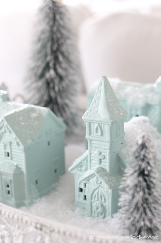 Painted mini Christmas Village from confessionsofaserialdiyer.com