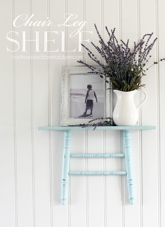 Shelf made from repurposing chair legs from confessionsofaserialdiyer.com