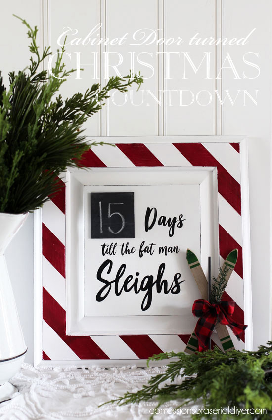 Cabinet door turned Christmas Countdown from confessionsofaserialdiyer.com