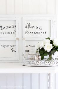 Dated wall cabinet gets a makeover with chalk paint and French typography.
