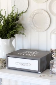 Thrift store drawer and drop leaf table side become a cute and functional storage piece!