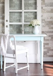 Transform a drop leaf table into a regular more functional table by removing the sides!