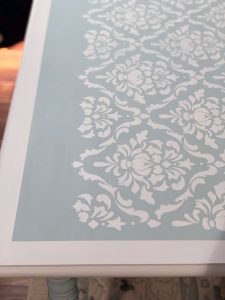 Stenciling a table with stencils from Stencil Revolution.