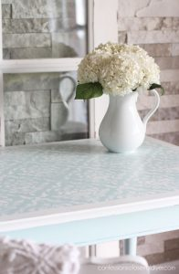 Stenciled table.