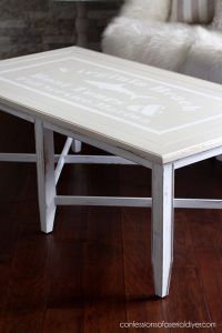 $30 Thrift store table gets a coastal makeover.