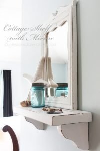 Cottage inspired shelf and mirror combo.