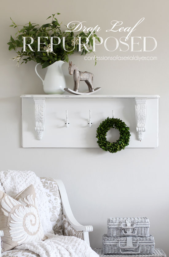 How to turn a drop leaf into a wall shelf from confessionsofaserialdiyer.com