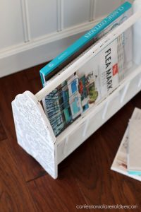 Thrift store magazine rack makeover from confessionsofaserialdiyer.com