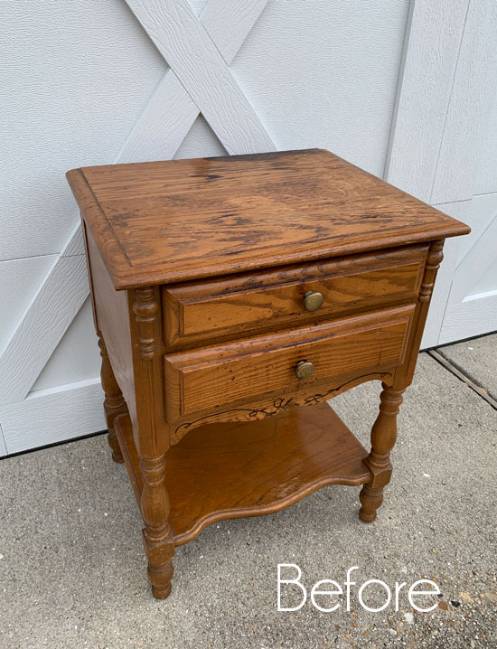 $12 Oak Night Table Makeover