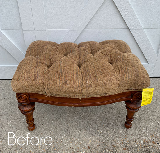 How to Recover a Tufted Footstool (The Cheater's Way!)